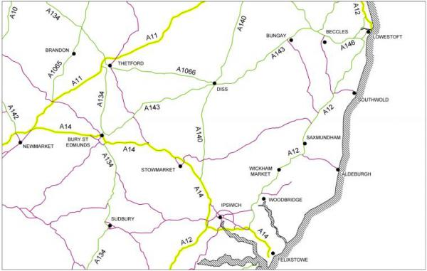 Map Of England Roads.Trunk Roads Maintained By Highways England Suffolk County Council
